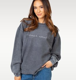 Chicka-d Women's Chicka-D Charcoal Embroidered Corded Crew