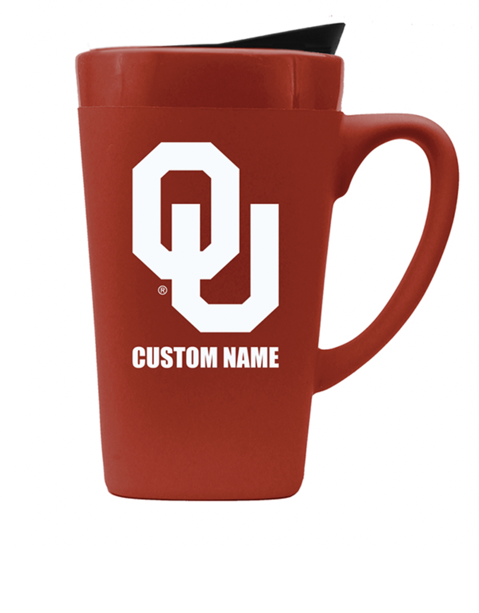 The Fanatic Group Personalized OU 16oz Ceramic Mug w/ Lid-Crimson