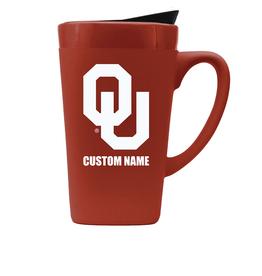 The Fanatic Group Personalized OU 16oz Ceramic Mug w/ Lid-Crimson