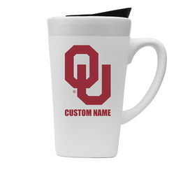 The Fanatic Group Personalized OU 16oz Ceramic Mug w/ Lid-White