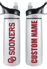 The Fanatic Group Personalized 24oz Frosted Plastic Sport Bottle w/ Clip-White