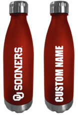 The Fanatic Group Personalized 24oz Frosted Plastic Water Bottle w/ Stainless Lid & Base-Crimson