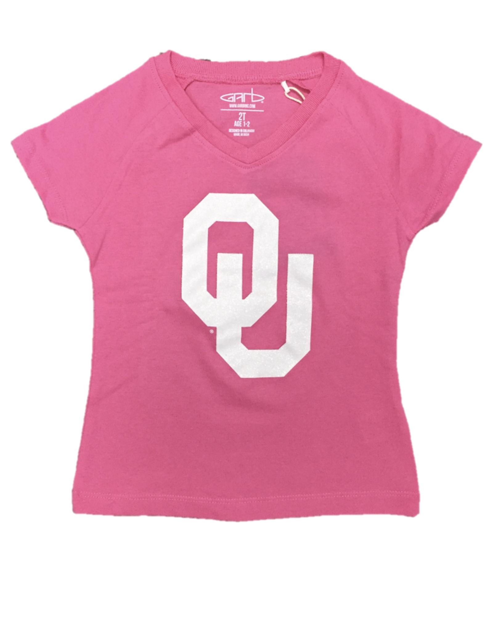 Garb Girls' Toddler Pink OU Glitter V-Neck Tee