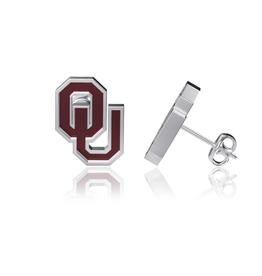 Dayna U OU Sterling Silver w/ Crimson Enamel Post Earrings