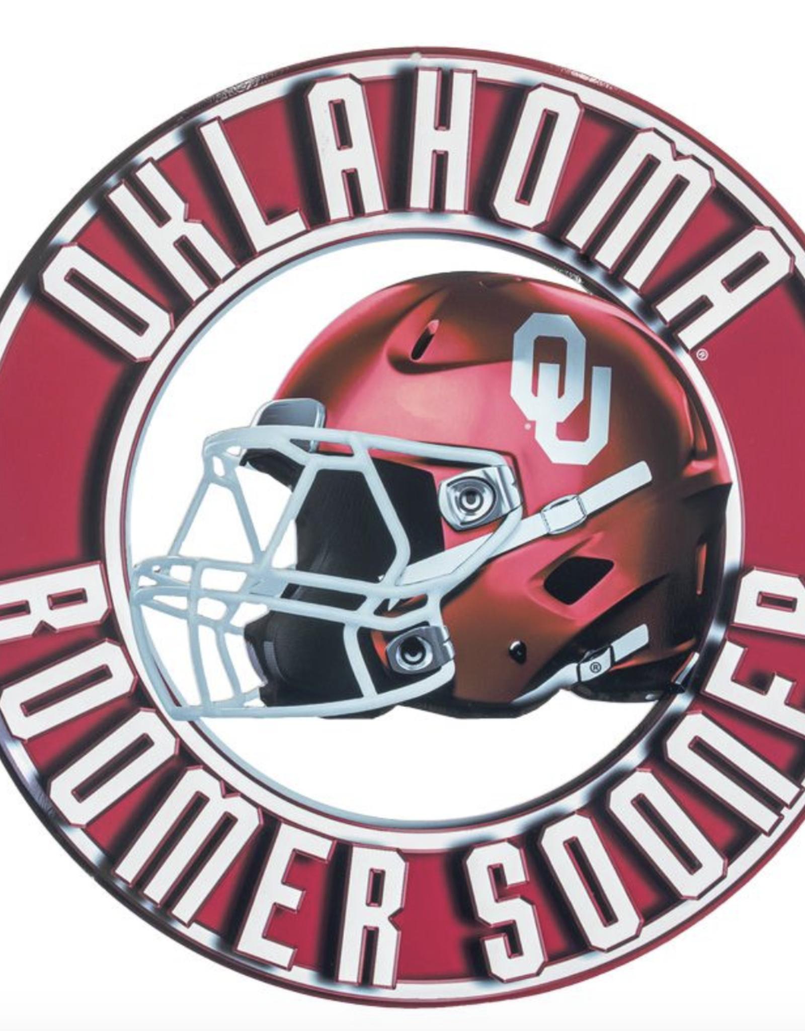 """Hanna's Handiworks Oklahoma Helmet Metal Cutout Sign (11.25"""" Dia)"""