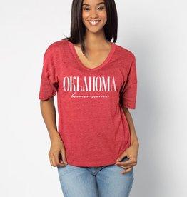 Chicka-d Women's chicka-d Oklahoma V-Happy Jersey Tee