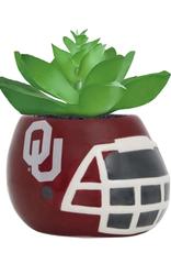 """Sporticulture OU Ceramic Helmet Planter w/ Artificial Succulent 3.5""""x2.75""""x 2.6"""" high"""