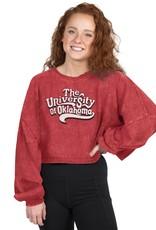 ZooZatz Women's ZooZatz Crimson University of Oklahoma Oversized Long Sleeve Crop Tee