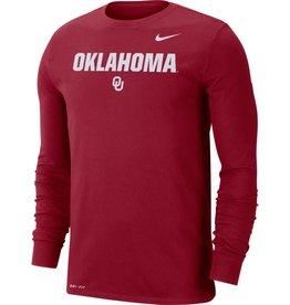 Nike Men's Nike Crimson Oklahoma OU DriFit Cotton Lockup L/S Top