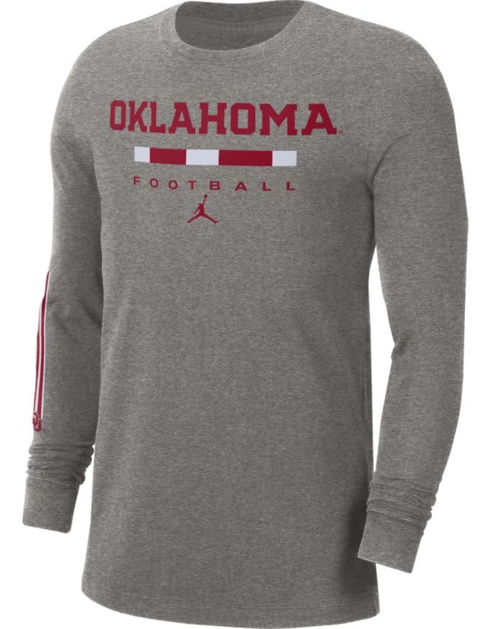 Jordan Men's Jordan Gray Oklahoma Football L/S Cotton Word Tee