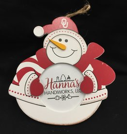Hanna's Handiworks Stitches Snowman Picture Frame Ornament