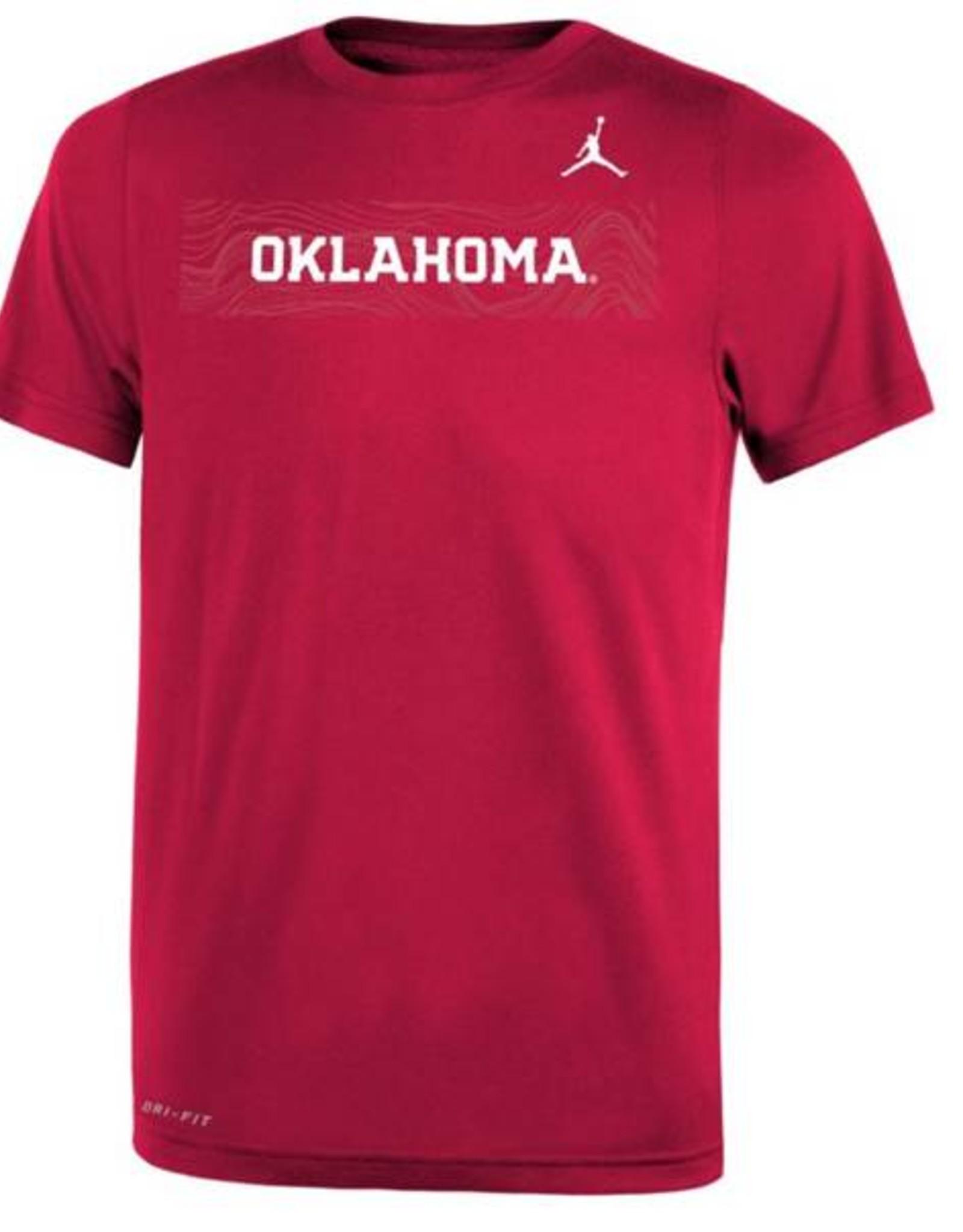 Jordan Youth Nike DriFit Oklahoma Sideline Crimson SS Tee