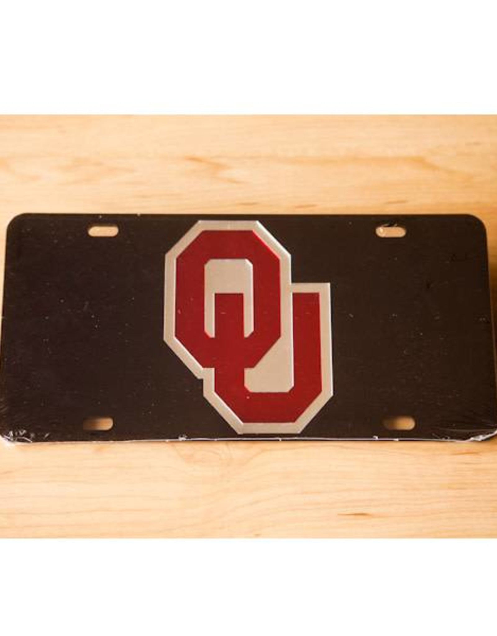 Craftique Craftique OU Crimson & Silver/Black Mirrored License Plate
