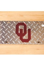 Craftique Craftique OU Crimson/Silver Diamond Pattern License Plate