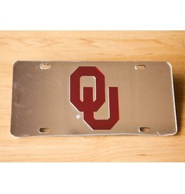 Craftique Craftique OU Crimson/Silver Mirrored License Plate