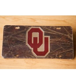 Craftique Craftique OU Crimson/Silver/Camo Mirrored License Plate