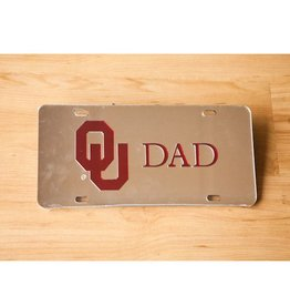 Craftique Craftique OU Dad Crimson/Silver Mirrored License Plate