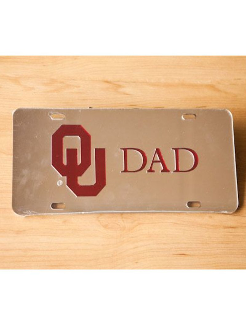 Craftique Craftique OU Dad Crimson/Silver Mirrored License Plate