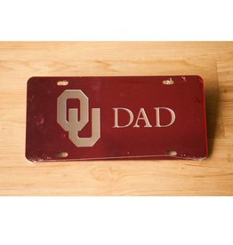 Craftique Craftique OU Dad Silver/Crimson Mirrored License Plate