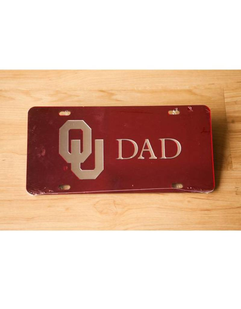 Craftique Craftique OU Dad Silver/Crimson Mirrored License Plate