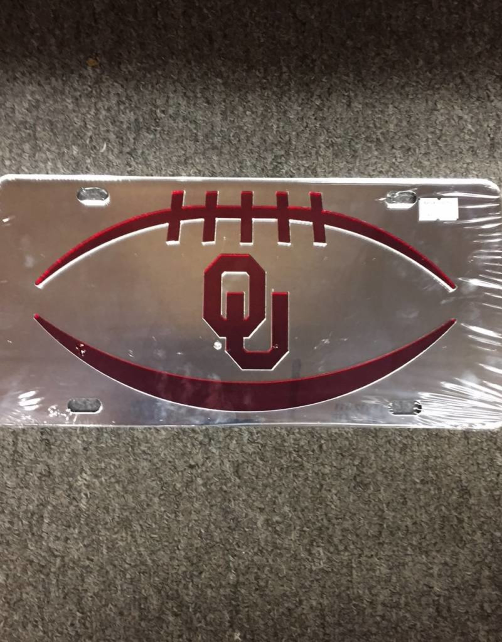 Craftique Craftique OU Football Icon Crimson/Silver Mirrored License Plate