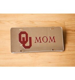 Craftique Craftique OU Mom Crimson/Silver Mirrored License Plate