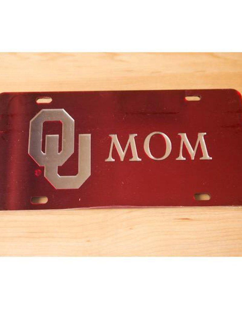 Craftique Craftique OU Mom Silver/Crimson Mirrored License Plate