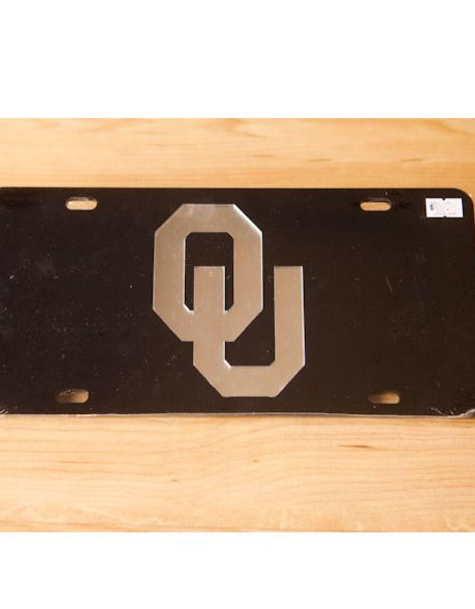 Craftique Craftique OU Silver/Black Mirrored License Plate
