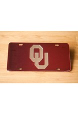 Craftique Craftique OU Silver/Crimson Mirrored License Plate
