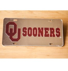 Craftique Craftique OU Sooners Crimson/Silver Mirrored License Plate