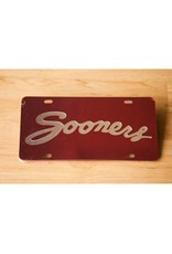 Craftique Craftique Sooners Script Silver/Crimson License Plate