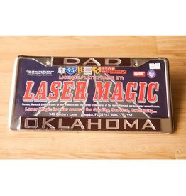 Laser Magic Dad/Oklahoma Mirrored Silver/Crimson License Frame