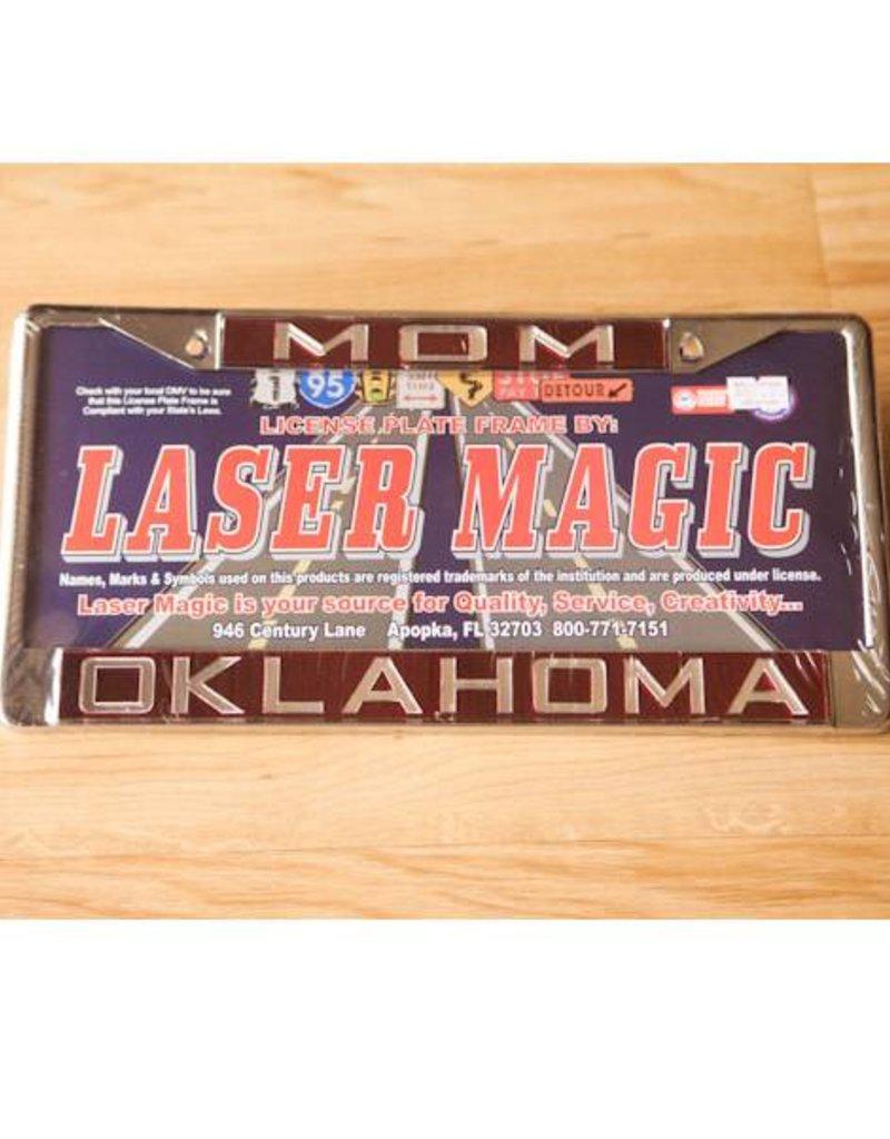 Laser Magic Mom/Oklahoma Mirrored Silver/Crimson License Frame