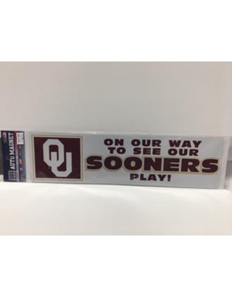 "SDS Design On Our Way To See Our Sooners Play Car Magnet 14""x3.75"""
