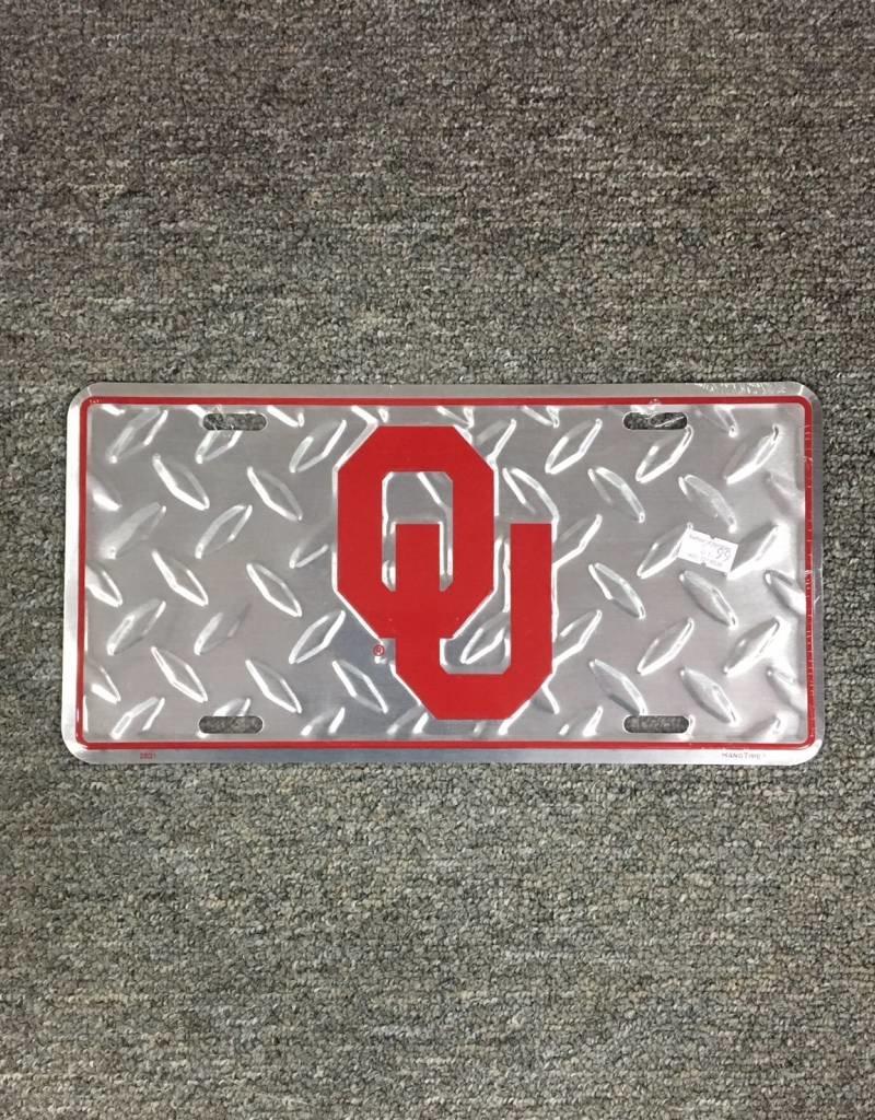 Jag OU Diamond Pattern Tin License Plate Crimson/Silver