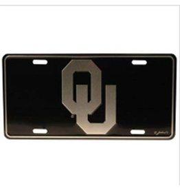 Jenkins OU Silver/Black Tin License Plate