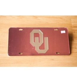 Craftique OU Silver/Pink Mirrored License Plate