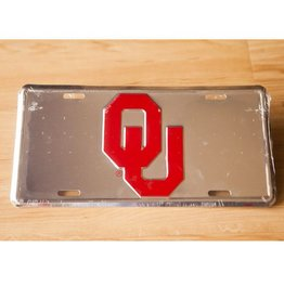 Jag OU Tin Crimson/Silver License Plate