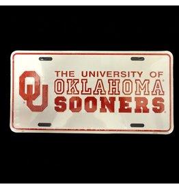 Jag OU University Of Oklahoma Sooners Tin License Plate Crimson/White