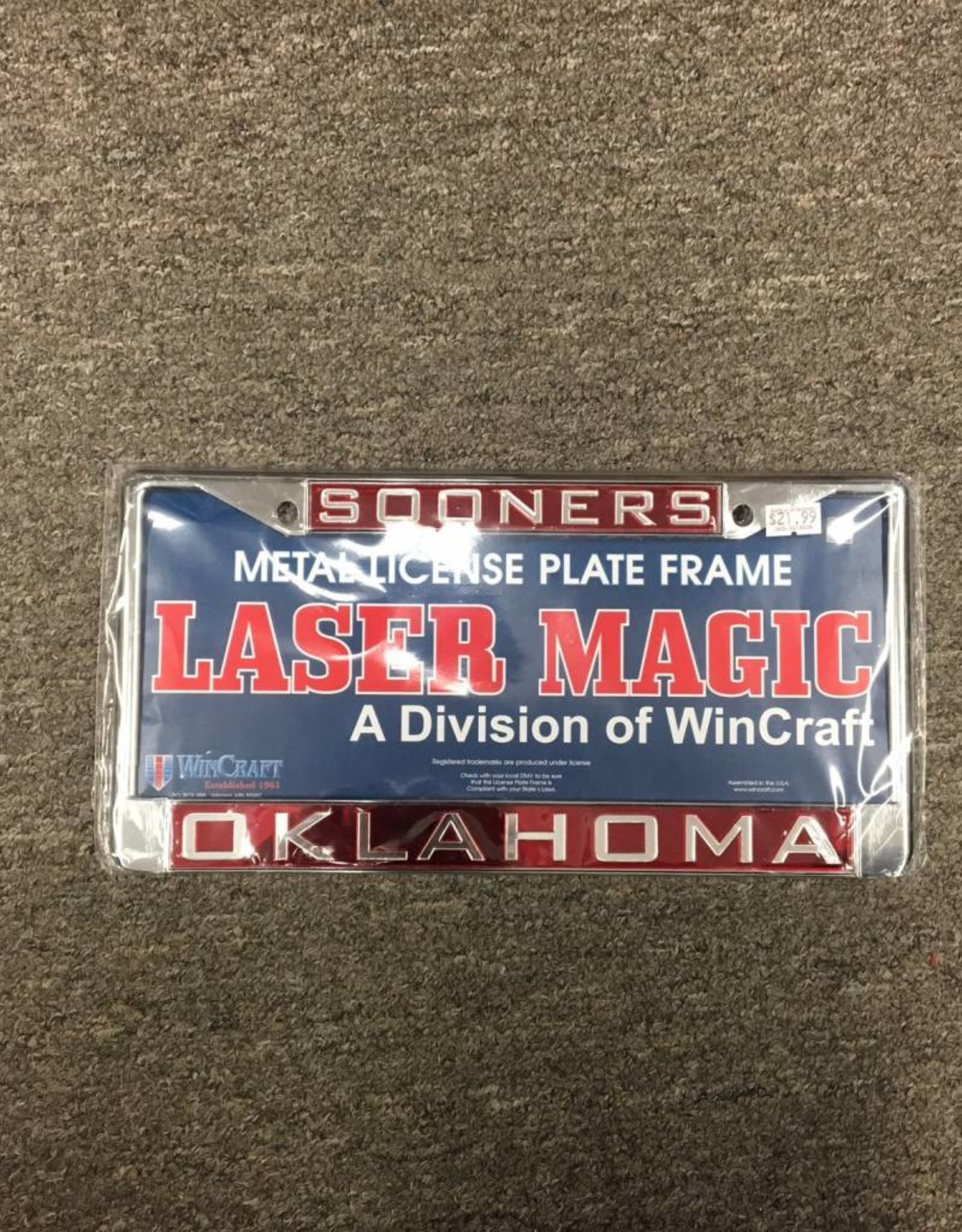 Laser Magic Sooners/Oklahoma Mirrored Silver/Crimson License Frame