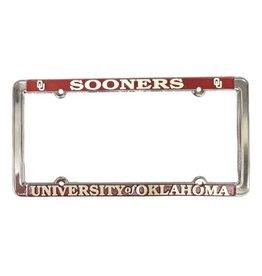 Jag Sooners/The University of Oklahoma Raised Letters White/Crimson License Frame