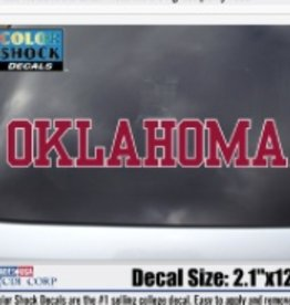 """Color Shock Oklahoma Crimson with White Outline Auto Decal 2.1""""x12"""""""