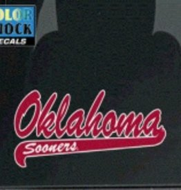 "Color Shock Oklahoma Sooners Script with Tail Auto Decal  2.7""X6.5"""