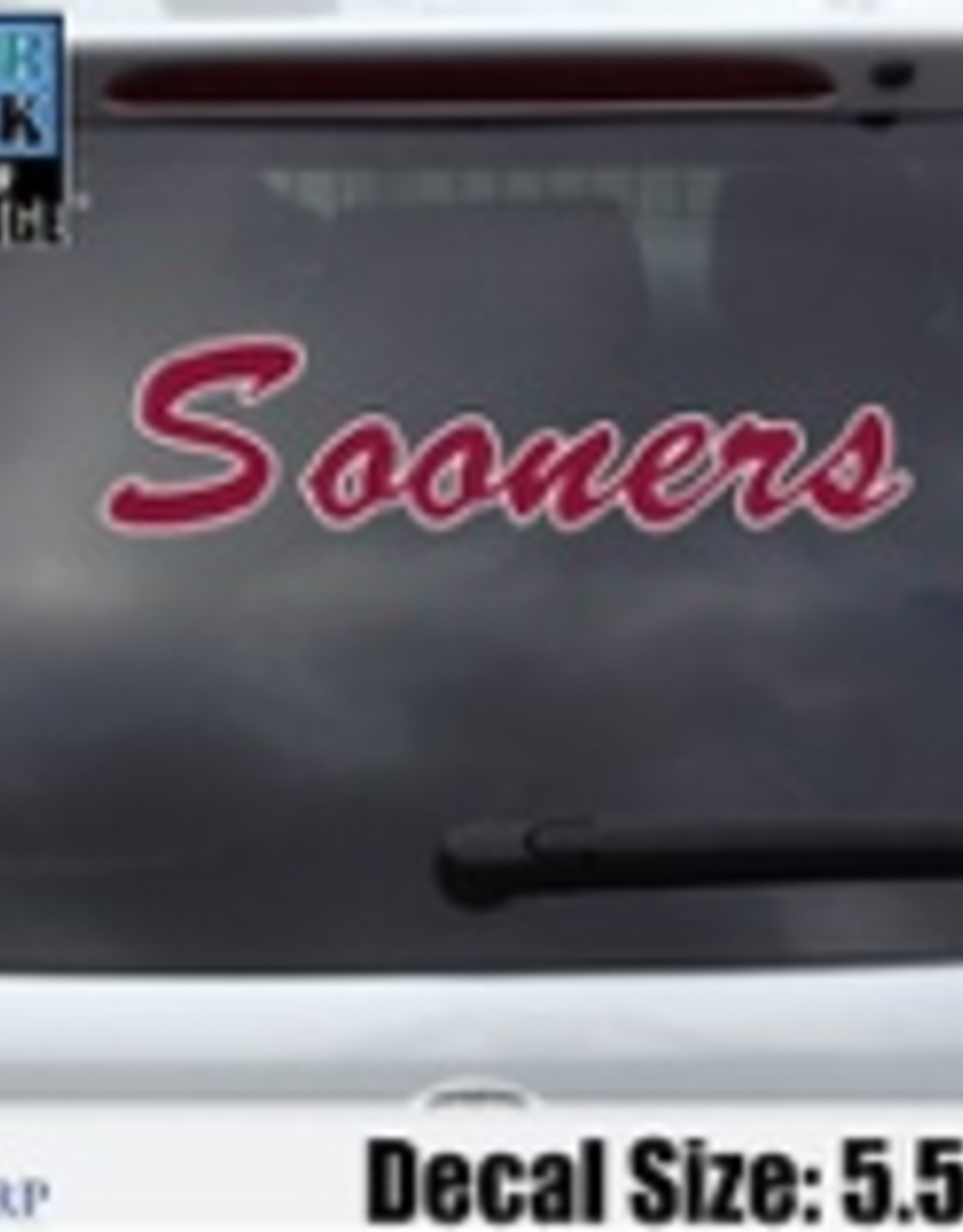 "Color Shock OU Large Sooners Script Auto Decal 5.5""x17"""