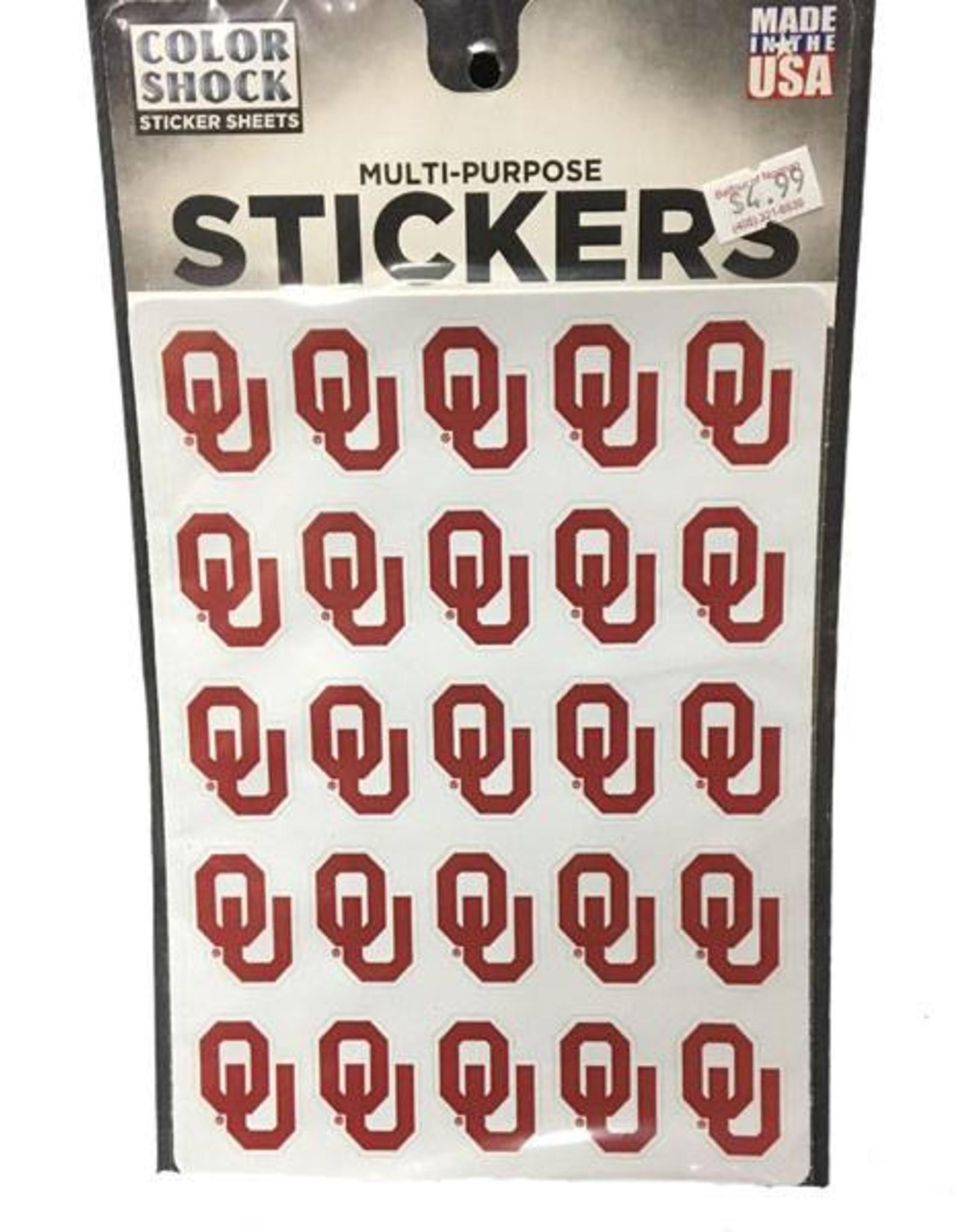 Color Shock OU Multi-Purpose Sticker Sheet (25 Stickers)