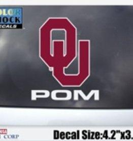 """Color Shock OU Pom Auto Decal 4.2""""x3.5"""""""