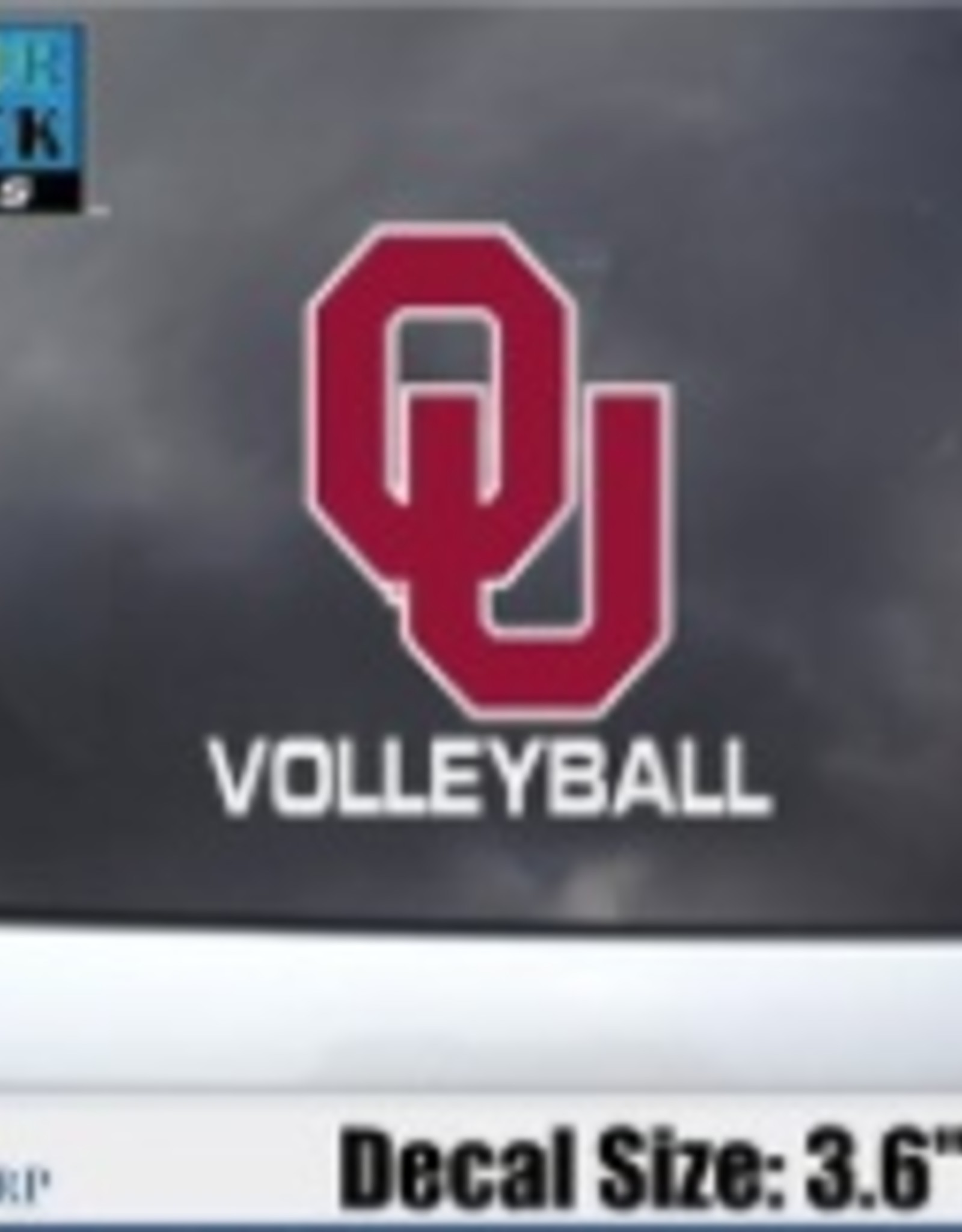 """Color Shock OU Volleyball Auto Decal 3.6""""x3.5"""""""