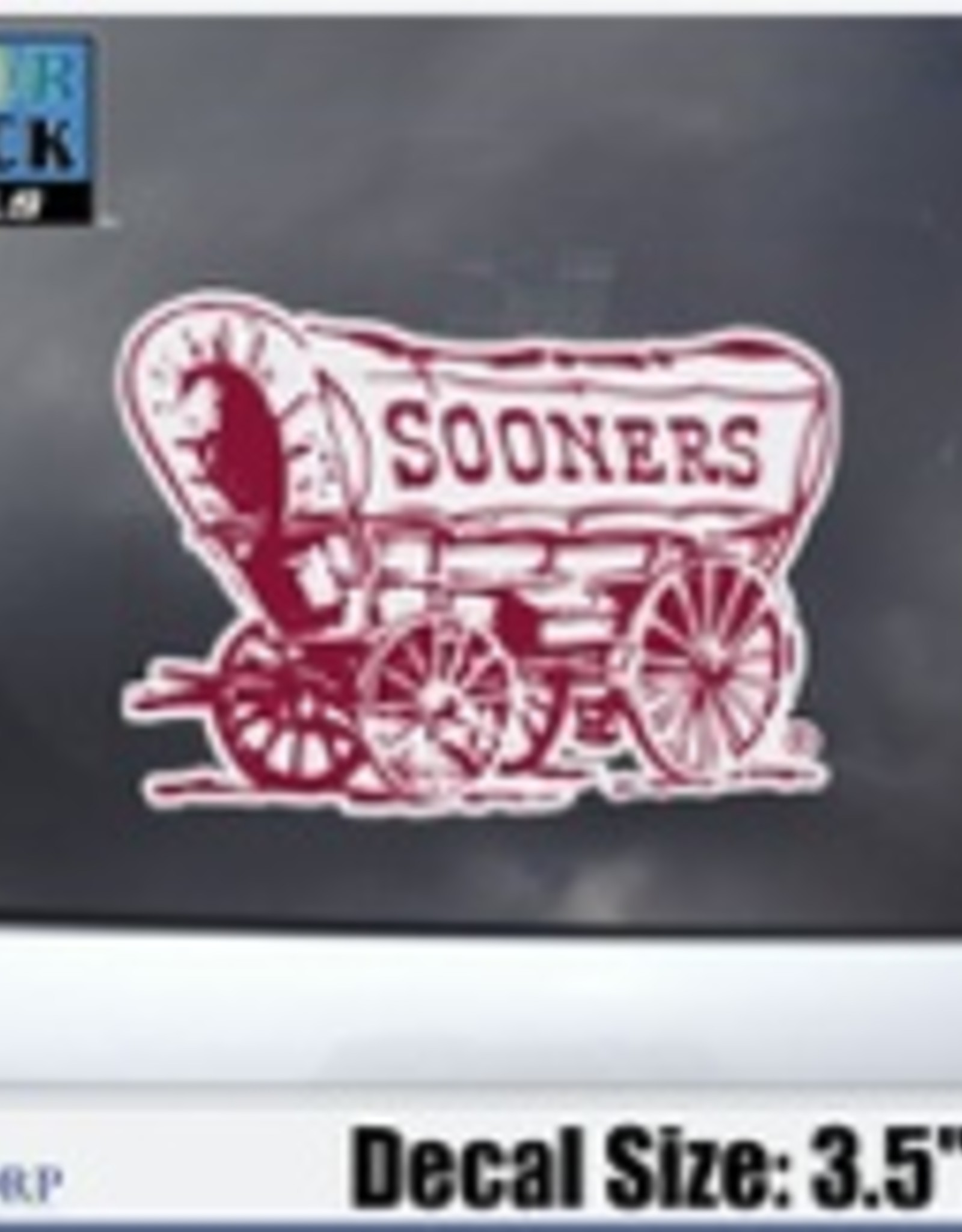 "Color Shock Sooner Schooner Auto Decal 3.5""x4.8"""