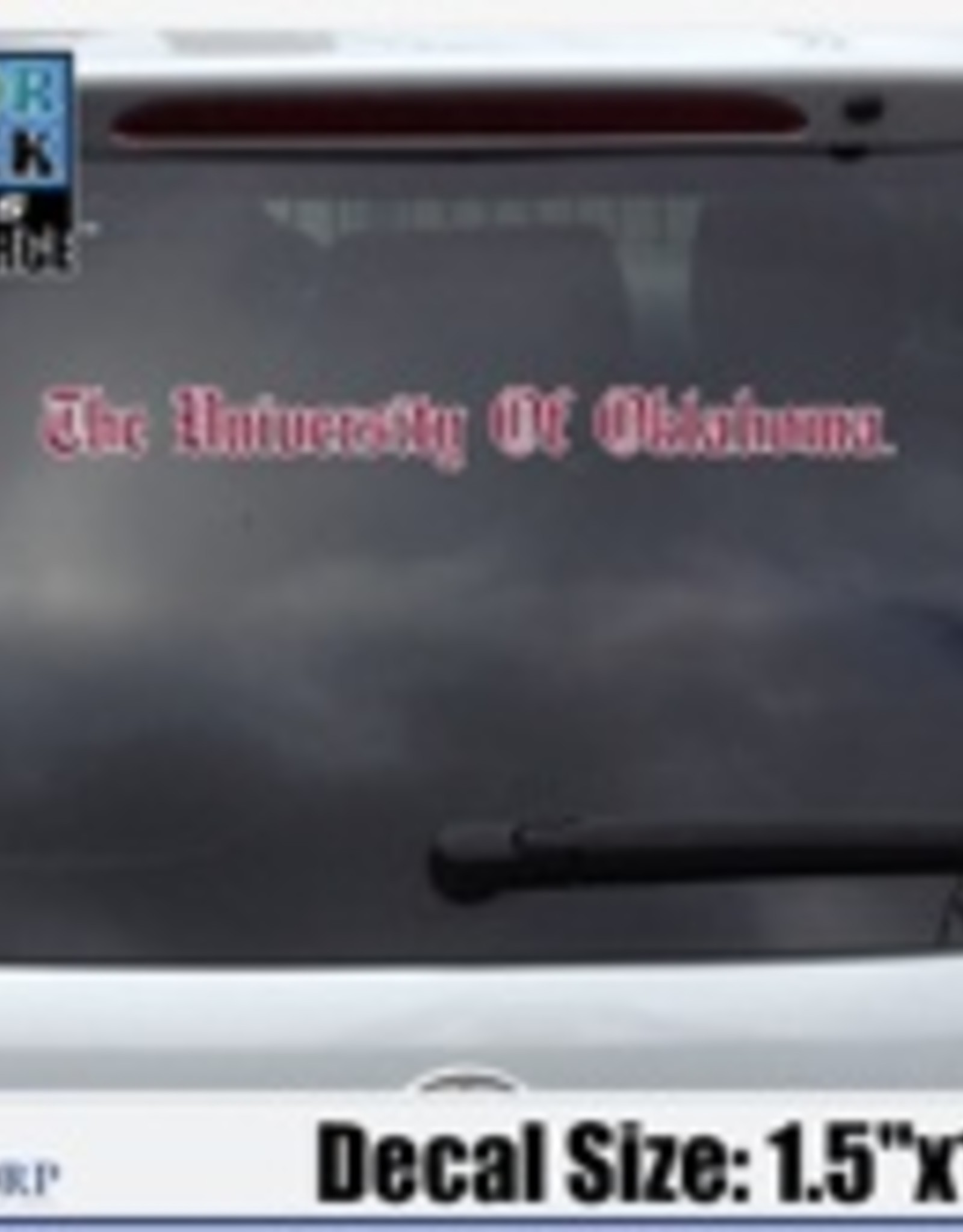 "Color Shock The University Of Oklahoma Old English Crimson/White Auto Decal 1.5""x15.5"""