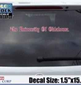 "Color Shock The University Of Oklahoma Old English Crimson/White Auto Decal 1.5""x15.5"""